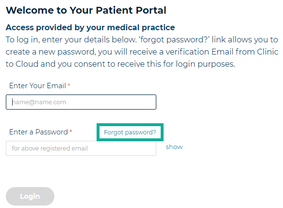 1. forgot password link