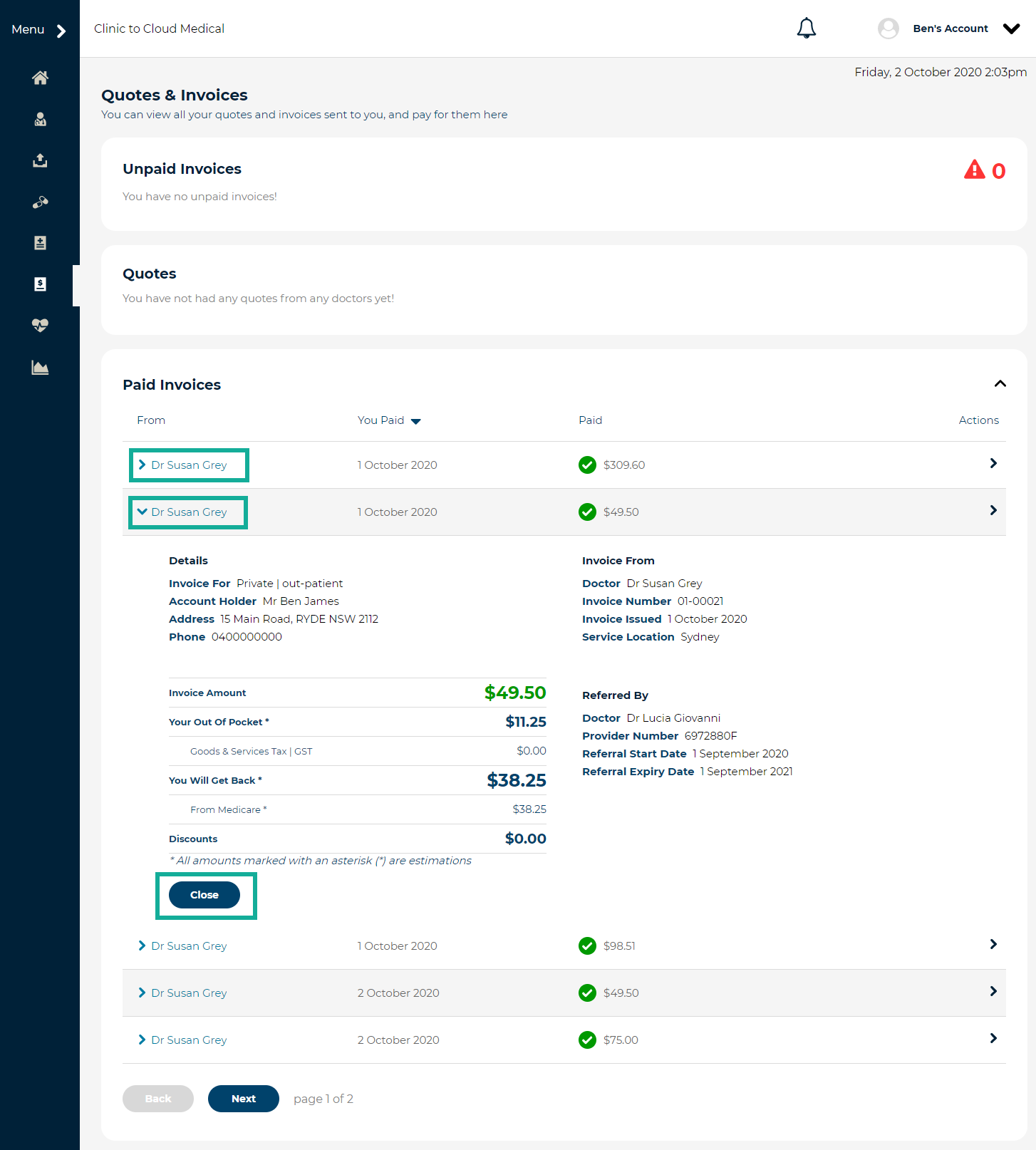 5. preview paid invoice