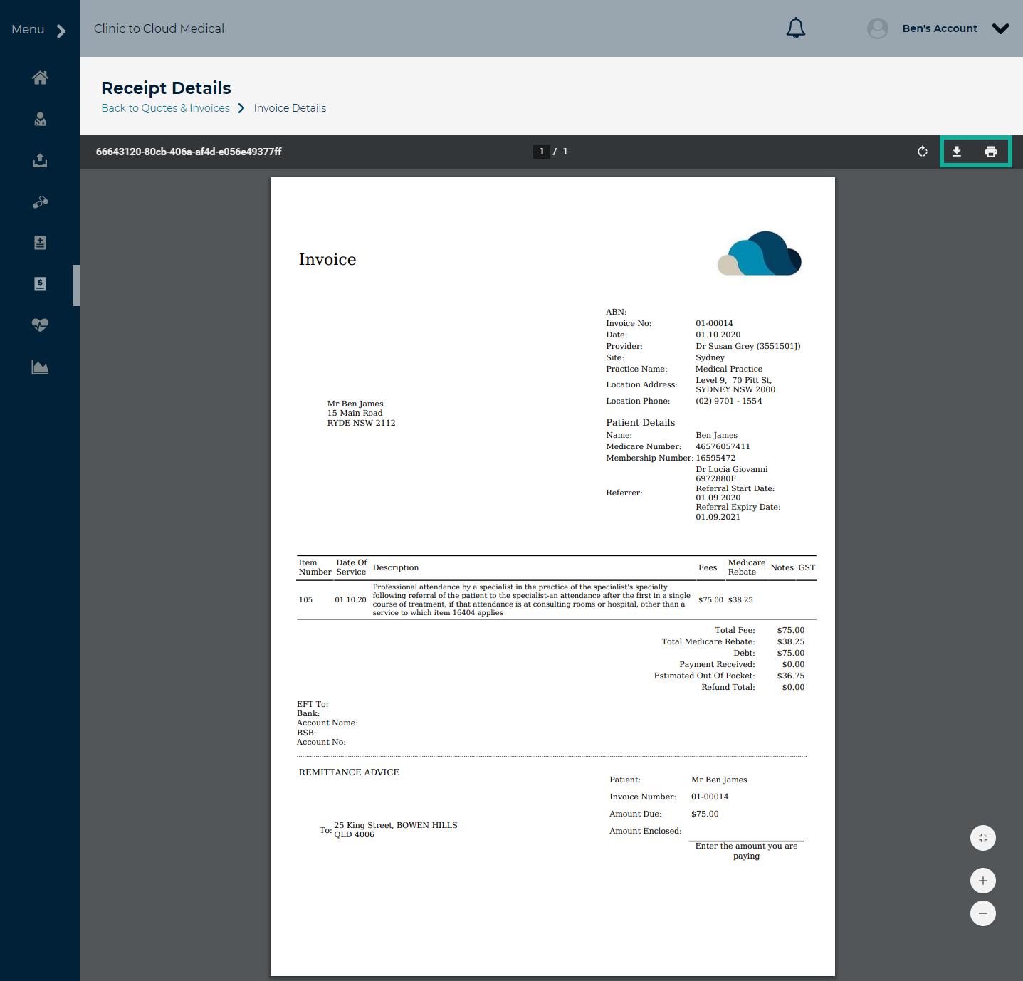 7. full invoice details