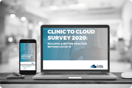 Mobile and laptop displaying clinic to cloud survey