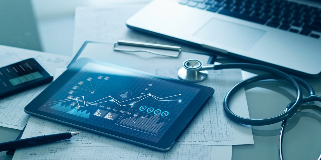 healthcare-business-concept-medical-examination-and-growth-graph-data-picture-id1274428125